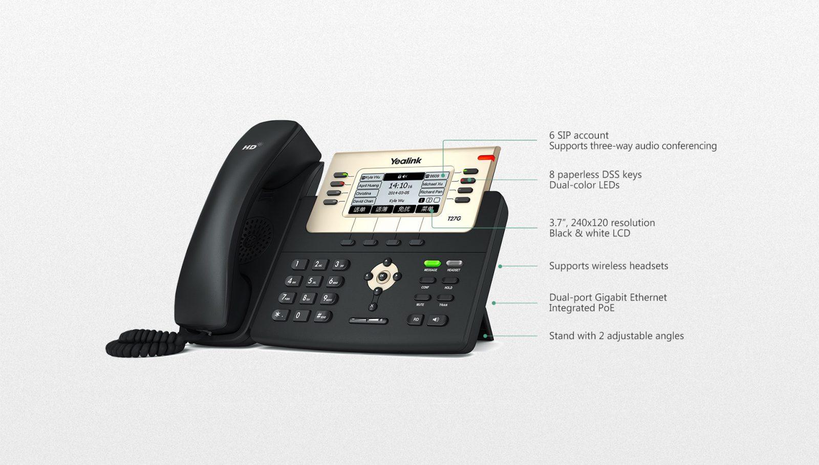 Yealink T27G IP Phone - Hong Kong Hotline: 39001988 - Matrix Technology (HK) Ltd