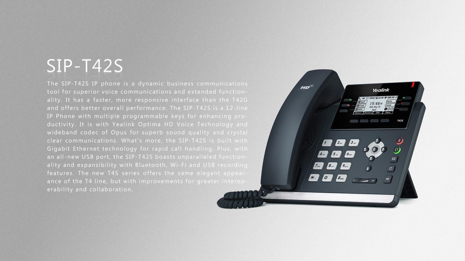 Yealink T42S IP Phone - Hong Kong Hotline: 39001988 - Matrix Technology (HK) Ltd