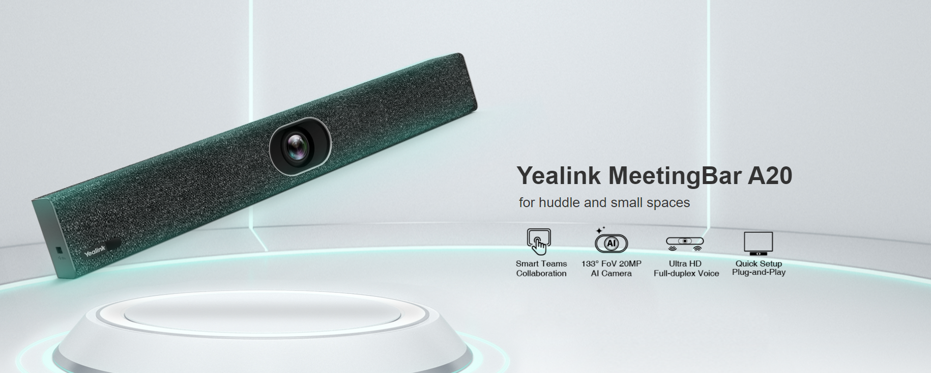 Yealink A20 Microsoft Teams All In One Meeting Bar with CTP18 Touch Console - Hong Kong Distributor - 香港代理